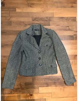 Vintage Tweed Women's Jacket   Short Black White And Brown Blazer   Small Size by Etsy