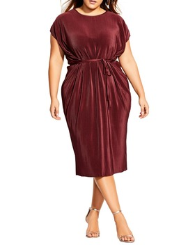 Pleated Midi Dress by City Chic
