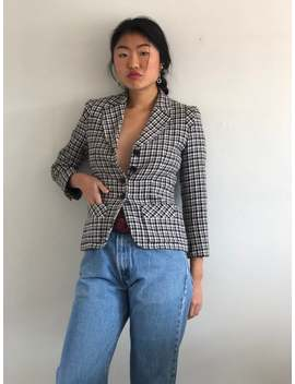 80s Sonia Rykiel Blazer / Vintage Sonia Rykiel Plaid Wool Tweed Cropped Houndstooth Fitted Blazer | Xs S by Etsy