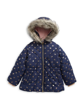 Little Girl's Faux Fur Trim Hooded Parka by Jessica Simpson