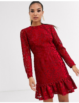 Asos Design Petite Premium Lazer Cut Velvet Mini Dress With Pephem by Asos Design