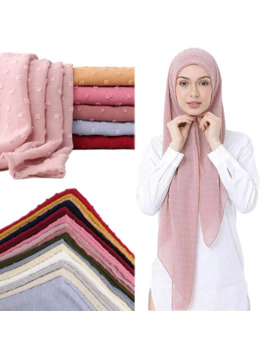 2019 New Flocked Bubble Chiffon Scarf Hijabs For Muslim Women Soild Color Breathable Islamic Headscarf Arab Head Scarves by Ali Express.Com