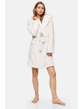 Oatmeal Tiger Textured Dressing Gown by Topshop