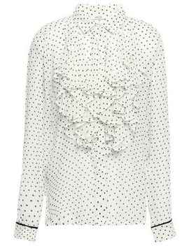 Rometty Ruffled Floral Print Georgette Blouse by Ganni