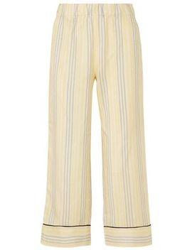 Bergamot Striped Silk Straight Leg Pants by Ganni