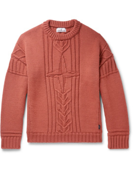 Cable Knit Wool Sweater by Stone Island