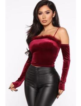 When The Moon's Out Top   Burgundy by Fashion Nova