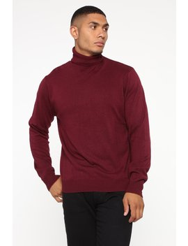 De Angelo Turtleneck Sweater   Burgundy by Fashion Nova