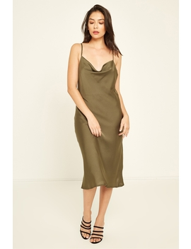 Cowl Neck Midi Dress Khaki by Perfect Stranger