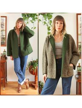Neutral Tweed Wool Overcoat With Emerald Green Interior by Etsy