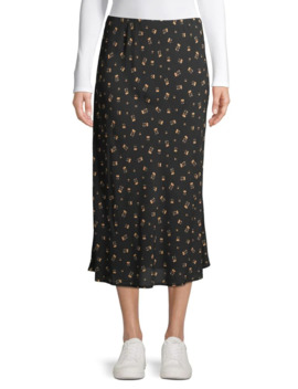 Pull On Floral Midi Skirt by Design Lab