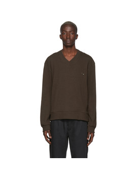 Brown Home V Neck Sweater by L'homme Rouge
