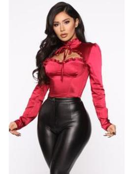 It's All Give And Take Blouse   Burgundy by Fashion Nova