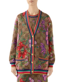 Metallic Floral Double G Wool Cardigan by Gucci