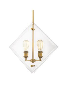 20 In. 2 Light Aged Brass Pendant Beveled Glass Panels Vintage Bulbs Included by Home Decorators Collection