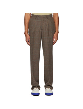 Brown Wool Check Single Pleat Suit Trousers by Noah Nyc