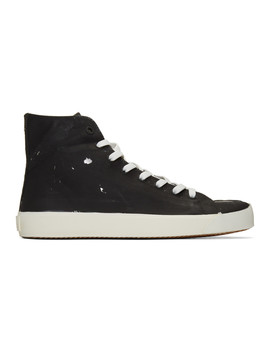 Black & Silver Tabi High Top Sneakers by Maison Margiela