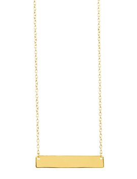 14 K Gold Sterling Silver Mini Bar Necklace by Sterling Forever