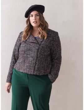 Bouclé Tweed Moto Jacket   Addition Elle Bouclé Tweed Moto Jacket   Addition Elle by Addition Elle