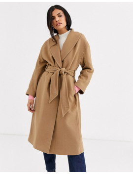 &Amp; Other Stories Tie Waist Wool Coat In Camel by & Other Stories