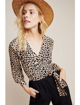 Leopard Cropped Wrap Blouse by Rinku Dalamal