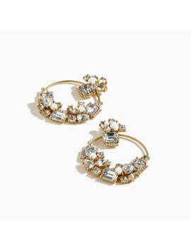 Gem Cluster Circular Earrings by J.Crew