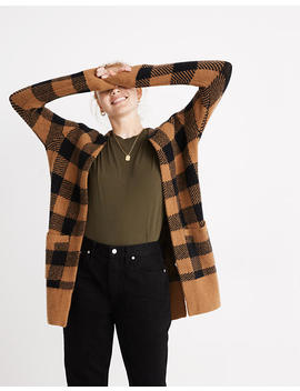 Buffalo Check Kent Cardigan Sweater In Coziest Yarn by Madewell