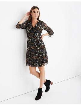 Sheer Sleeve Ruffled Wrap Dress In Finch Floral by Madewell