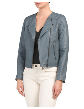 Petite Smooth Lamb Leather Biker Jacket by Tj Maxx