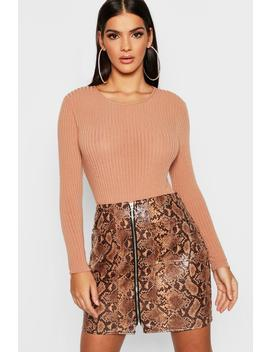Snakeskin Pu Leather Look Zip Front Mini Skirt by Boohoo