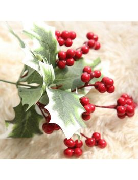 Christmas Red Artificial Flower Holly &Amp; Berry Pick Leaf Garland Decor Lr Jne by Unbranded