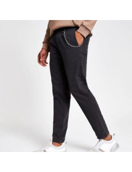Dark Grey Chain Tapered Trousers by River Island
