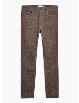 Brown Micro Corduroy Stretch Skinny Pants by Topman