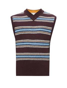 Stripe Intarsia Sweater Vest by Wooyoungmi
