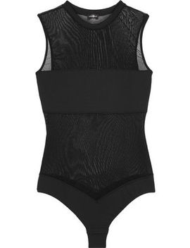 Bisou Move Jersey Paneled Stretch Mesh Thong Bodysuit by Cosabella