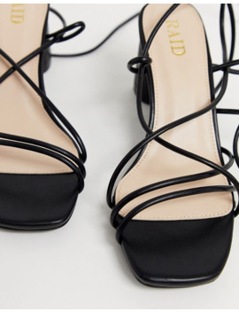 Raid Jacinta Skinny Strappy Ankle Tie Sandals In Black by Raid