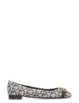 Salvatore Ferragamo Fabric Ballet Flats With Gancini Logo by Salvatore Ferragamo