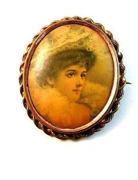 Large Vintage Portrait Of A 19th Century Lady Brooch by Ebay Seller