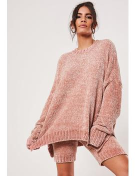Pink Chenille Co Ord Long Knitted Sweater by Missguided