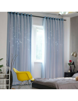 Star Blockout Blackout Curtains 2 Layers Eyelet Pure Fabric Room Darkening Home by Ebay Seller