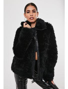 Black Teddy Borg Oversized Jacket by Missguided