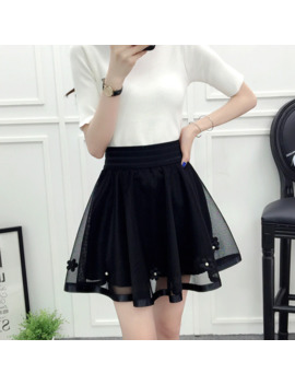 Tulle Skirt High Waist New 2019 Summer Women Black Mesh Beading Sweet Mini School Skirt Elastic Waist Tutu Skirt by Ali Express.Com
