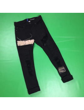 Divided Skinny Distressed Moto Jeans With Patches by Divided  ×