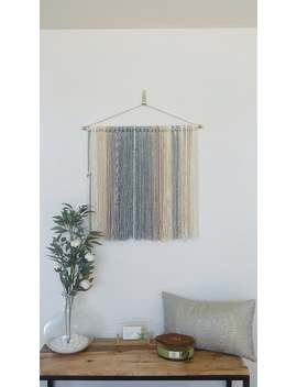 Tapestry, Yarn Tapestry, Yarn Wall Hanging, Ivory, Beige, Grey And Grayish Green by Etsy