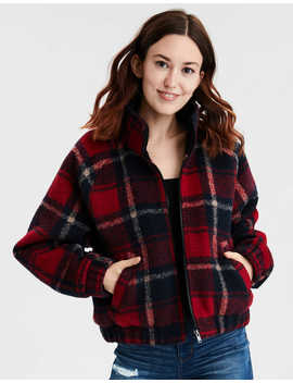 Ae Plaid Cropped Bomber Jacket by American Eagle Outfitters