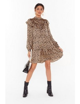 Leopard Satin Cowl Neck Midi Dress by Nasty Gal