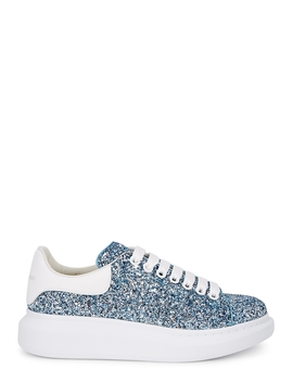 Larry Blue Glittered Leather Sneakers by Alexander Mc Queen