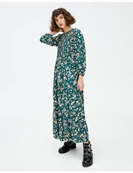 Midi Dress With Shirring by Pull & Bear