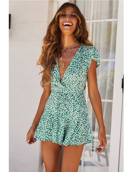 Woman In Love Playsuit Green by Hello Molly