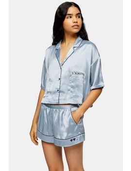 Blue Embroidered Satin Pyjama Shirt by Topshop
